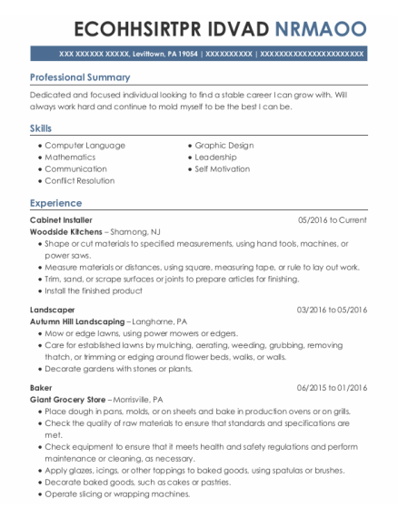 Cabinet Installer resume template Pennsylvania