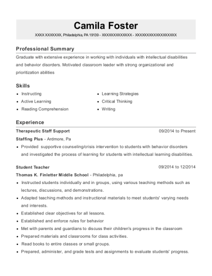 Therapeutic Staff Support resume example Pennsylvania