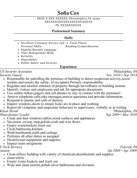 Security Guard resume template Pennsylvania