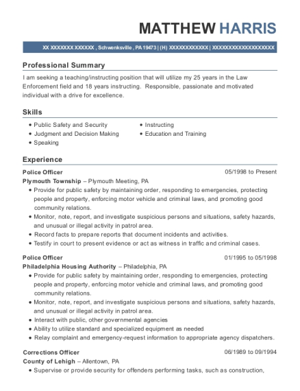 Police Officer resume template Pennsylvania