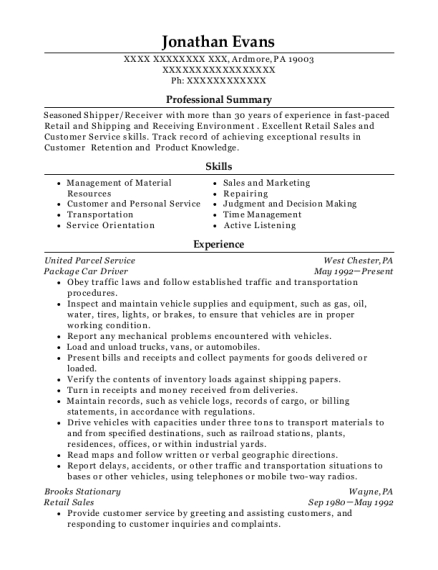 Package Car Driver resume format Pennsylvania