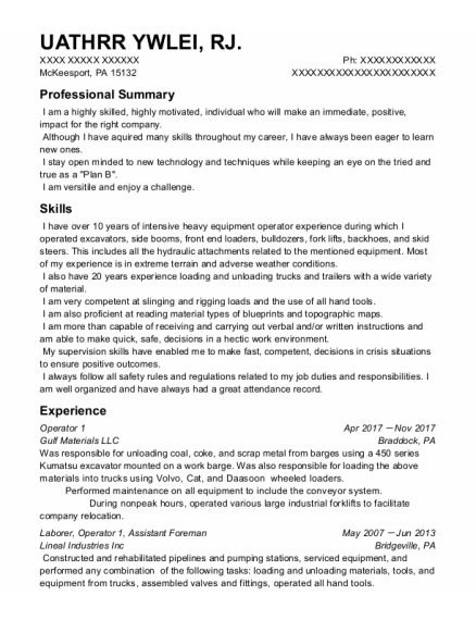 Operator 1 resume sample Pennsylvania