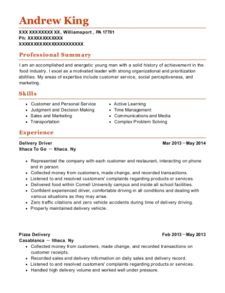 Delivery Driver resume example Pennsylvania
