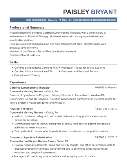 Certified Lymphedema Therapist resume example Pennsylvania