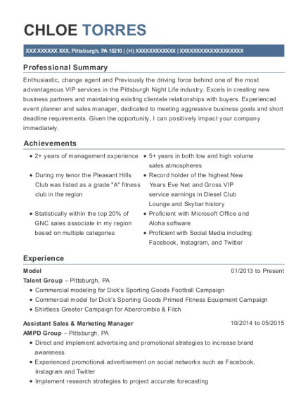 Model resume sample Pennsylvania