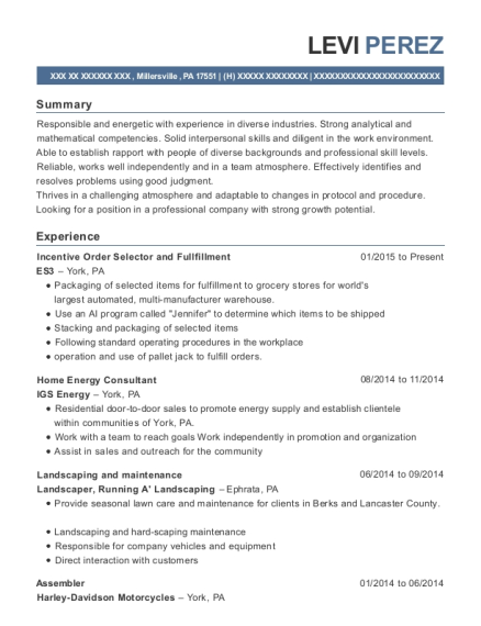 Incentive Order Selector and Fullfillment resume template Pennsylvania