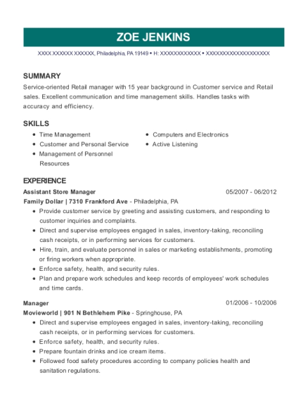 Assistant Store Manager resume template Pennsylvania