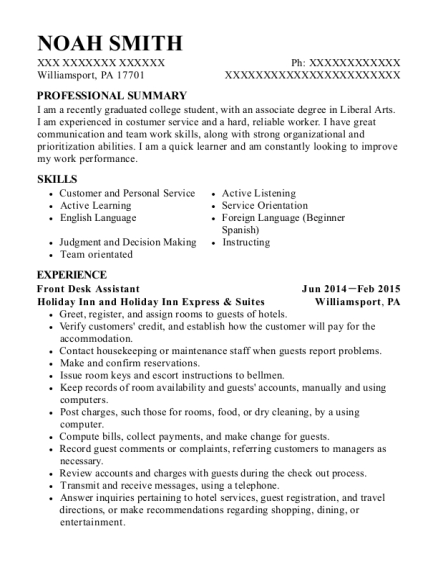 Front Desk Assistant resume example Pennsylvania