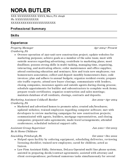 Property Manager resume format Pennsylvania