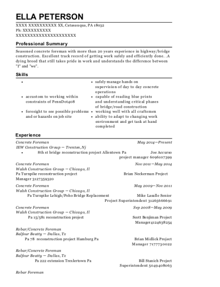 Concrete Foreman resume example Pennsylvania
