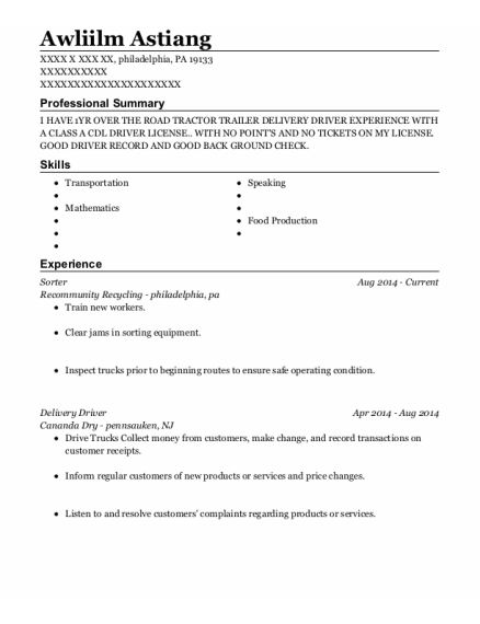 Sorter resume example Pennsylvania