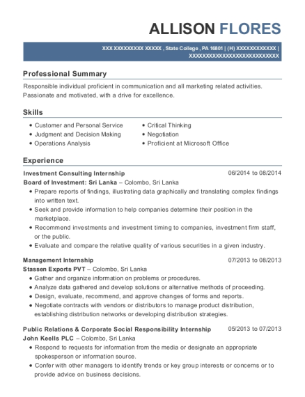 Investment Consulting Internship resume format Pennsylvania