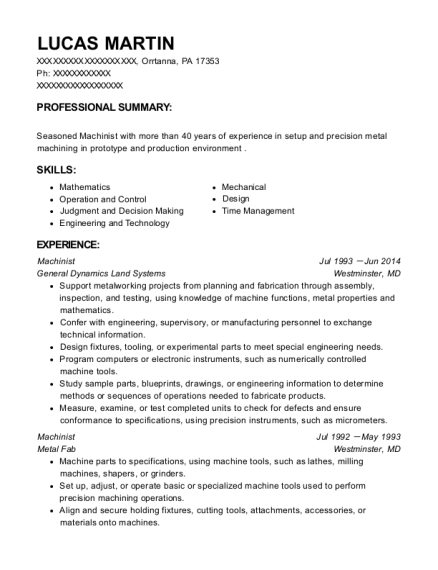 Machinist resume template Pennsylvania