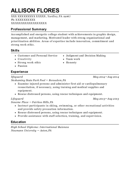 Lifeguard resume format Pennsylvania