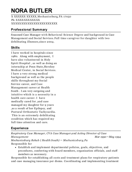 Respiratory Case Manager resume template Pennsylvania