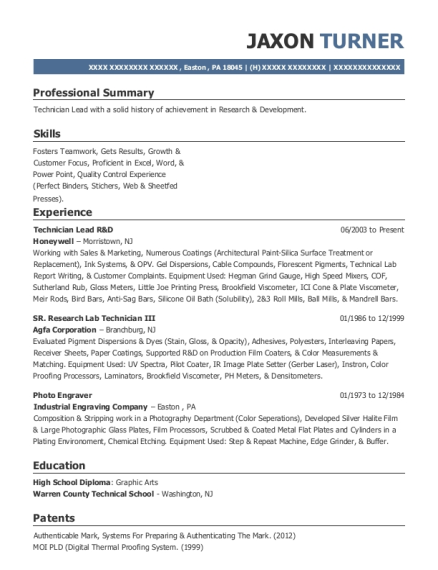 Technician Lead R&D resume sample Pennsylvania