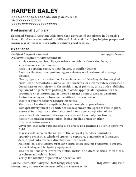 Certified Surgical Assistant resume format Pennsylvania