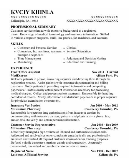Front Office Assistant resume sample Pennsylvania