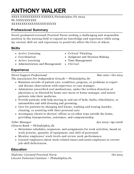 Direct Support Professional resume example Pennsylvania