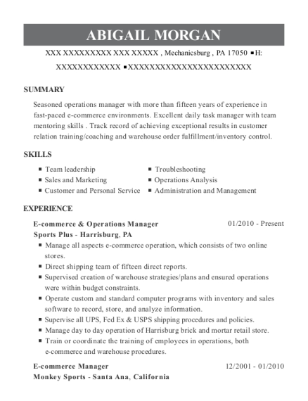 E commerce & Operations Manager resume template Pennsylvania