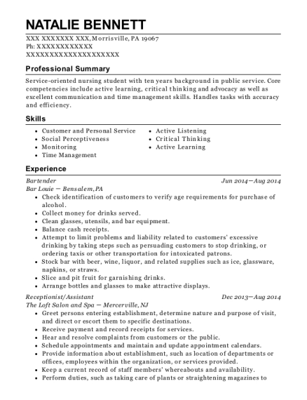 Bartender resume sample Pennsylvania