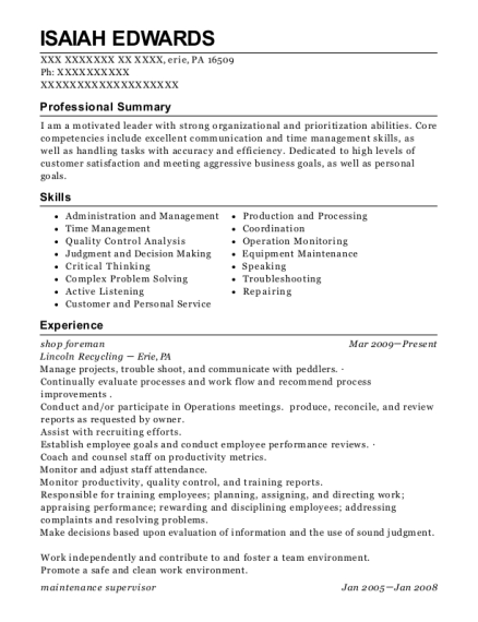 shop foreman resume sample Pennsylvania