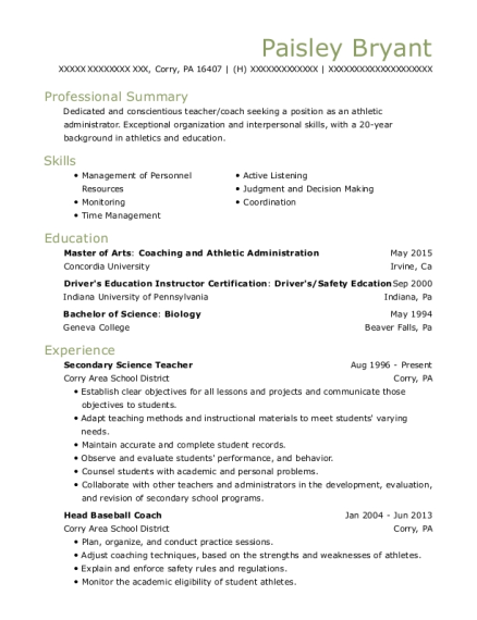 Secondary Science Teacher resume template Pennsylvania