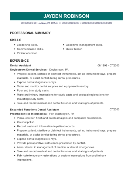 Dental Assistant resume example Pennsylvania