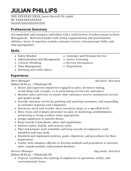 Store Manager resume example Pennsylvania