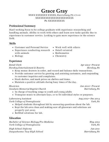 Retail Clerk resume format Pennsylvania