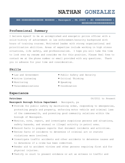 Patrolman resume sample Pennsylvania