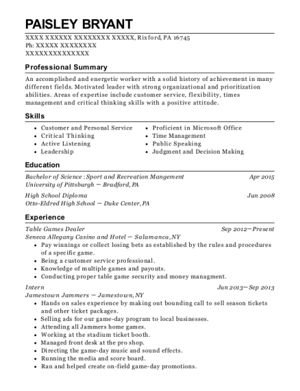 Table Games Dealer resume template Pennsylvania