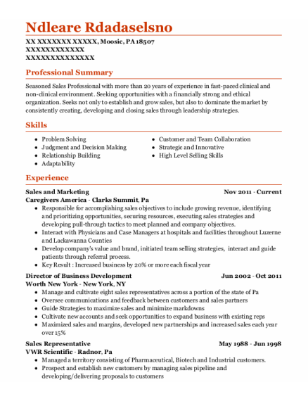 Sales and Marketing resume format Pennsylvania