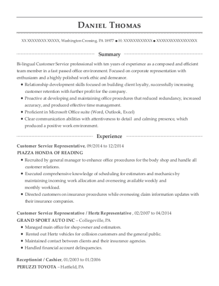 Customer Service Representative resume sample Pennsylvania