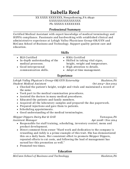 Student Medical Assistant resume example Pennsylvania