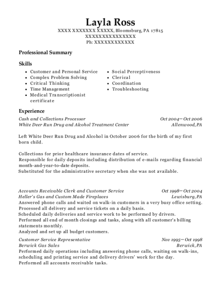 Cash and Collections Processor resume sample Pennsylvania