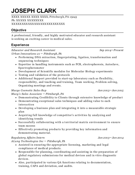Educator and Research Assistant resume template Pennsylvania