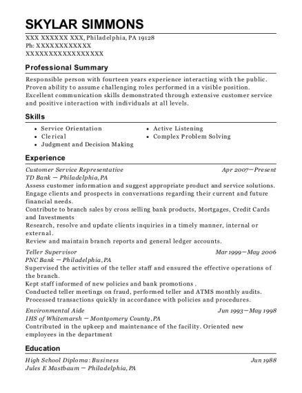 Customer Service Representative resume template Pennsylvania