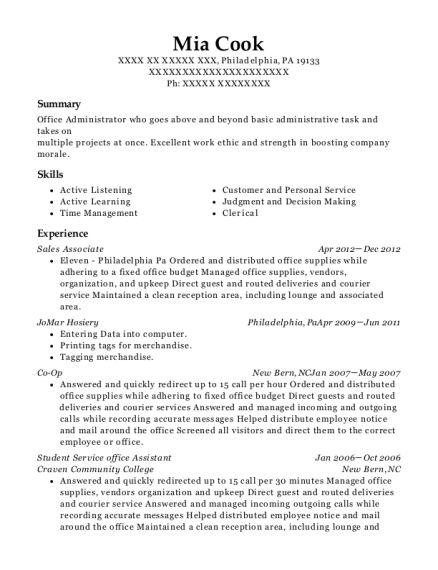 Sales Associate resume example Pennsylvania