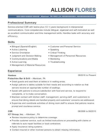 Hostess resume format Pennsylvania