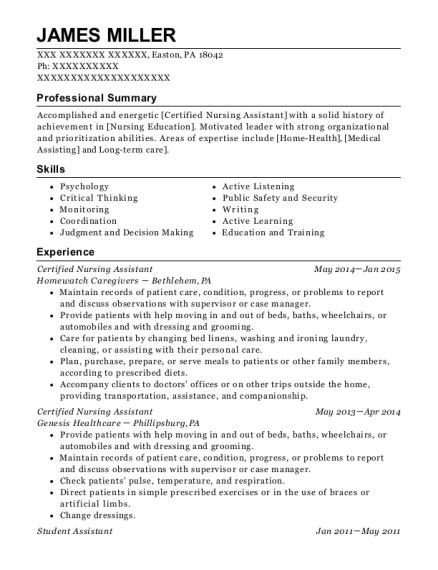 Certified Nursing Assistant resume template Pennsylvania