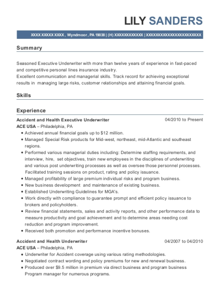 Accident and Health Executive Underwriter resume template Pennsylvania