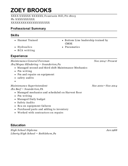 Maintenance General Foreman resume example Pennsylvania
