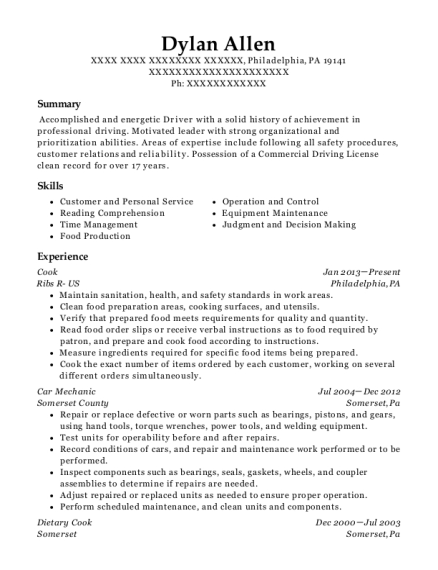 Cook resume sample Pennsylvania