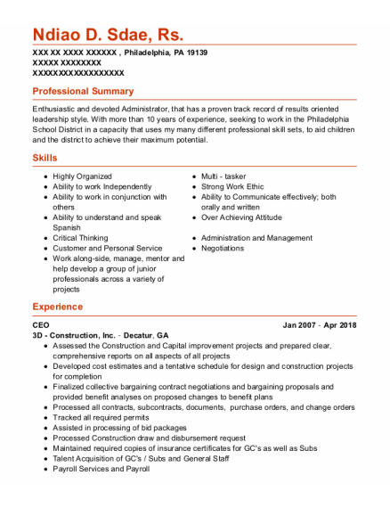 CEO resume template Pennsylvania