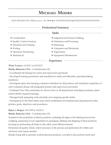 Plant Trainer resume sample Pennsylvania