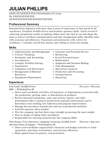 Line Lead resume template Pennsylvania