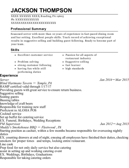 Server resume example Pennsylvania