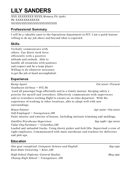 Ramp Agent resume template Pennsylvania