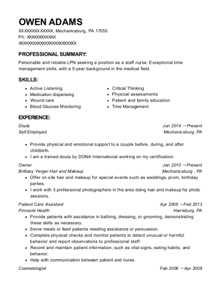 Doula resume example Pennsylvania